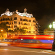 Casa Mila by night, designed by Antoni Gaudi in Barcelona, Spain — Stock Photo #21135417