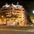 Casa Mila by night, designed by Antoni Gaudi in Barcelona, Spain — Stock Photo #21135419