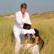 Royalty-Free Stock Photo: Chair massage in the dunes on the island Ameland, the Netherlands