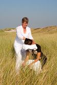 Chair massage in the dunes on the island Ameland, the Netherlands — Stock Photo