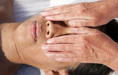 Japanese facial massage — Stock Photo