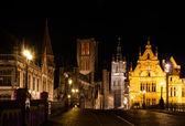 Ghent, à noite, belgiu — Fotografia Stock