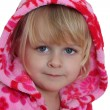Portrait of little girl with pink hood — Stock Photo