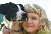 Girl with dog — Stock fotografie