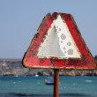 Rusty traffic warning sign — Stock Photo