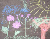 Chalk picture paiting on concrete — Stock Photo
