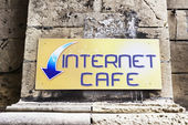 Internet sign on wall — Stock Photo
