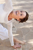 Happy yoga woman — 图库照片