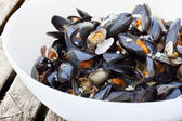 Pasta Spaghetti with mussels and vongole — Stock Photo