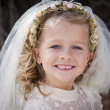 Girl in holy communion dress and veil — Stock Photo #26942389