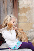 Girl with two kittens — Stock Photo
