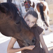 Girl with horse — Stock Photo