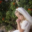 Praying girl first holy communion — Stok fotoğraf