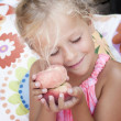 Child with a peach — Stock Photo