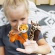 Stock Photo: Child with finger puppets