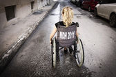 Lonely child in wheelchair — Stock fotografie
