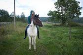 Girl bareback on icelandic horse — Stock Photo