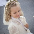Girl in holy communion dress and veil — Stock Photo #40552125