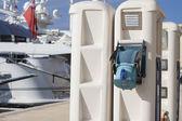 Marina pontoon with electricity supply — Photo