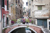 Tourists at Ponte de la Chiesa, Venice, Italy — Stock Photo