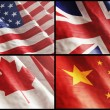 Flags XL. USA, England, Canada and China — Stock Photo