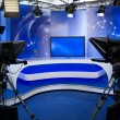 Stock Photo: TV studio with camerand lights