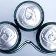 Stock Photo: Cans of soft drink in Refrigerator