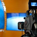 TV NEWS studio with camera — Stock Photo #28170403