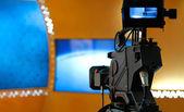 TV NEWS studio with camera — Stock Photo