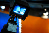 Video camera viewfinder - recording in TV studio — Stock Photo
