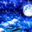 Moonlit night in the sky — Stock Photo
