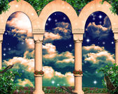 Sky behind the columns — Stock Photo