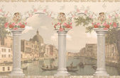 View of Venice against the columns — Stock Photo
