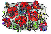 Poppies and butterflies — Zdjęcie stockowe