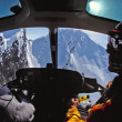 Stock Photo: Helicopter Cockpit view of Alaska's Chugach Mountains