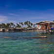 Ocean view of a sea gypsy village on wooden stilts on Mabul Island in Celebes Sea, Sabah, Malaysia. — Stock Photo