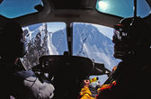 Helicopter Cockpit view of Alaska's Chugach Mountains — Stock Photo