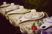 Vintage ceramic tea pots — Stock Photo