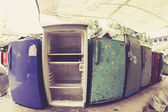Old Refrigerators Waiting to Be Scrapped At a Recycling Center — Stock Photo
