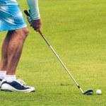 zbliżenie z golfa na zielono — Zdjęcie stockowe