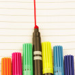 Collection of color pens on white paper with lines — Stock Photo