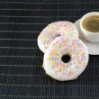 Donuts and espresso — Stock Photo