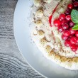 Pavlova meringue with cherries — Stock Photo