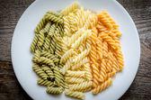 Fusilli pasta italian flag — Stock Photo