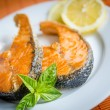 Stock Photo: Grilled salmon steaks