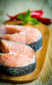 Fresh salmon steaks — Stock Photo