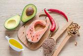 Lebensmittel mit ungesättigten fettsäuren — Stockfoto