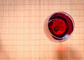 Red Wine In A Wine Glass. The Top View — Stock Photo