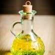 Small bottle of olive oil with cork stopper — Stock Photo
