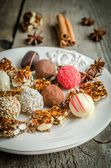 Chocolate candies with turron pieces — Stock Photo